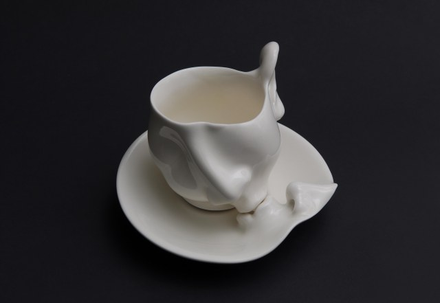 Porcelain cup and saucer 17cm (L) 17cm (W) 10cm (H)  2009 Finalist, The 12th Carouge International Ceramics Competition 2009, Switzerland
