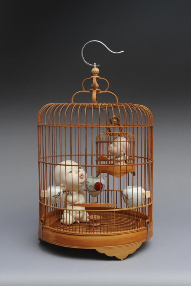 Cages Porcelain and bird cage Diameter 32 H56cm  2015 by Johnson Tsang